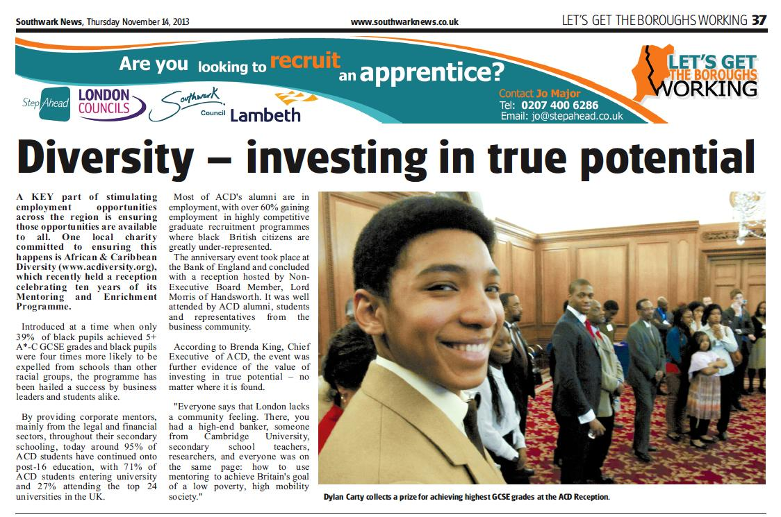 "ACDiversity Featured in Southwark News ""Let's Get the Boroughs Working"" Campaign"