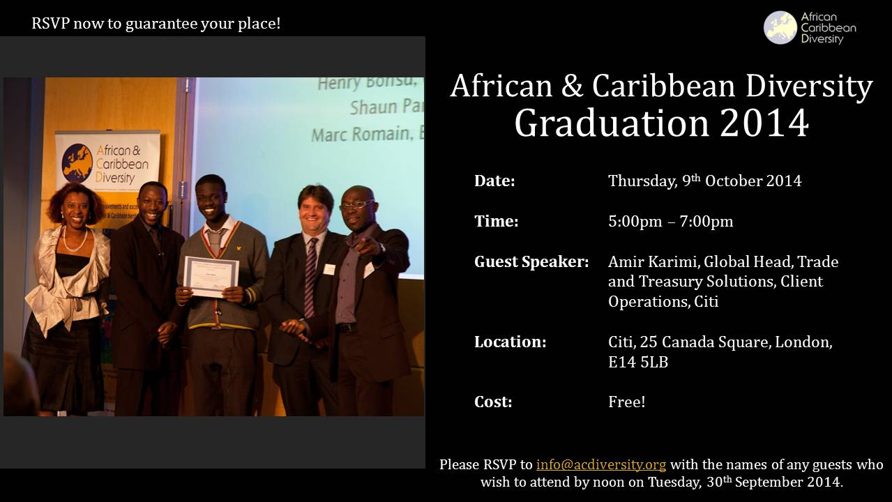 African & Caribbean Diversity is Having a Graduation Celebration and We want You to Join Us!